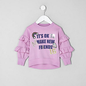 Mini girls lilac frill sleeve sweatshirt