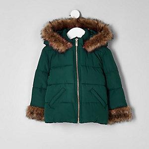 Manteau matelassé vert avec fausse fourrure mini fille
