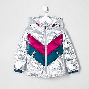 Mini - Zilverkleurige geruite gewatteerde jas met capuchon voor meisjes