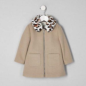 Mini girls brown leopard print trim coat