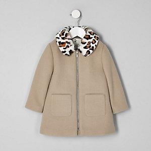 Mini - Bruine jas met luipaardprint voor meisjes