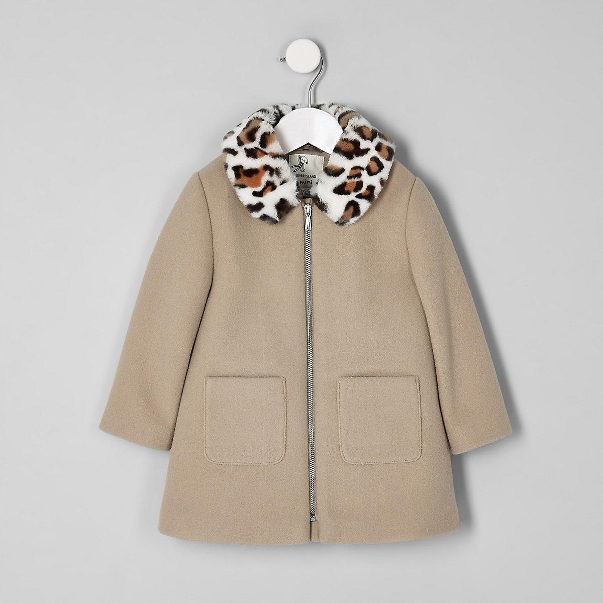 Mini girls brown leopard print trim coat