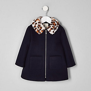 Mini girls navy leopard print fur collar coat