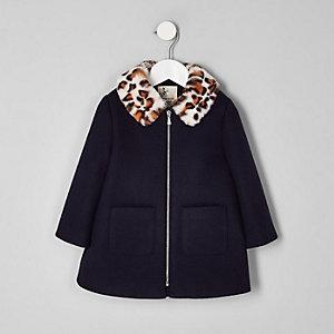 Mini - Marineblauwe jas met kraag van luipaardprint voor meisjes