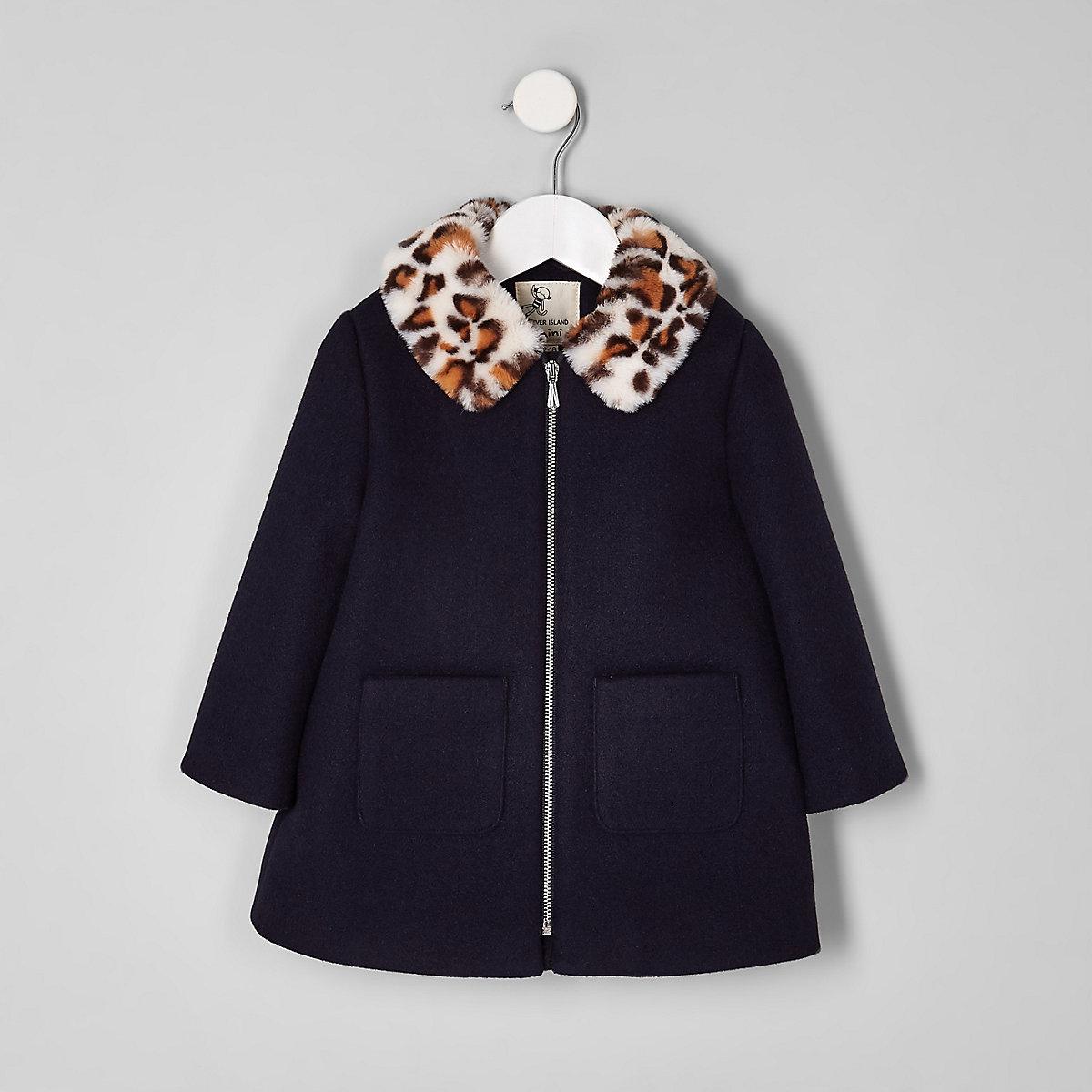 Mini girls navy leopard print collar coat
