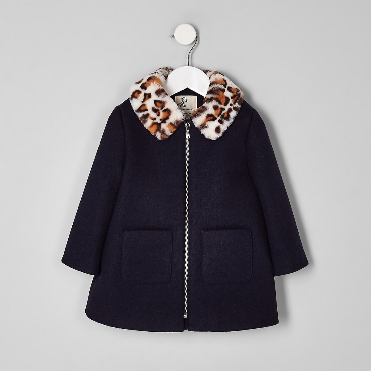 Mini girls navy leopard print collar coat
