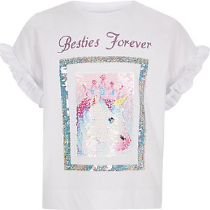 "Weißes, paillettenverziertes T-Shirt ""besties forever"""