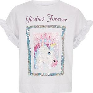 Wit T-shirt met pailletten en 'besties forever'-print voor meisjes
