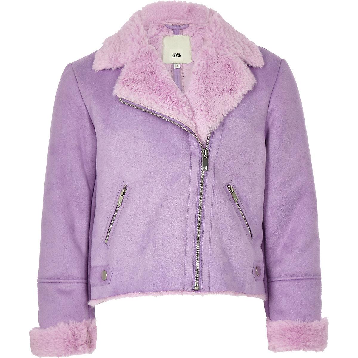 Girls lilac faux suede fur biker jacket
