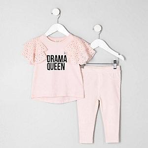 Mini - Roze broderie outfit met 'drama queen'-print voor meisjes