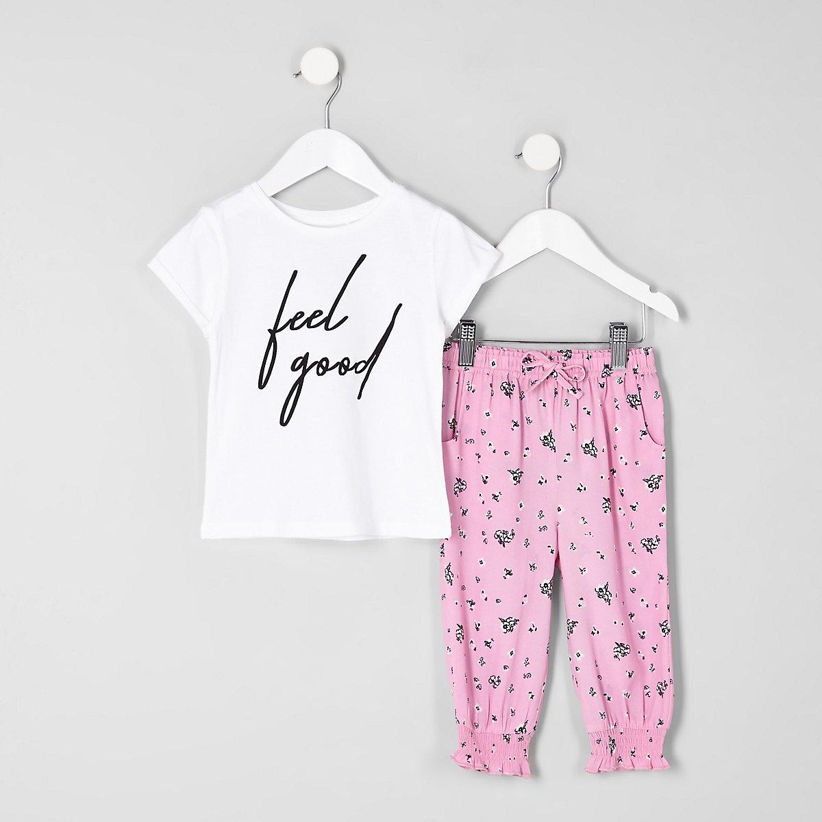 Mini girls white 'feel good' T-shirt outfit