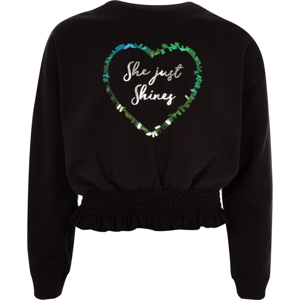 Girls black 'She just shines' sweatshirt