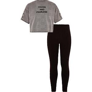 Outfit met grijze geruite crop top met pied-de-poule-motief voor meisjes