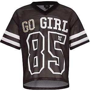 "RI Active – Schwarzes T-Shirt ""go girl"""