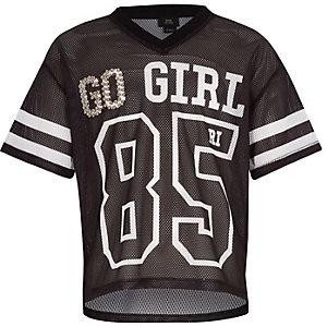 T-shirt « Go girl » en maille noir pour fille