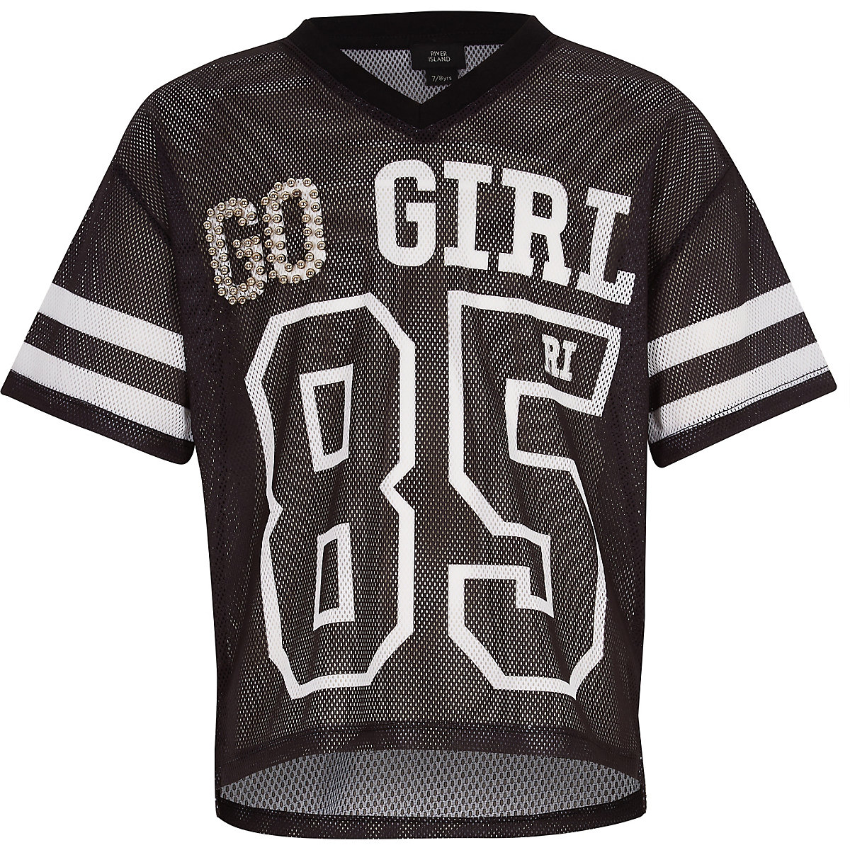 Girls RI Active black 'go girl' mesh T-shirt