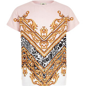Kids pink baroque print T-shirt