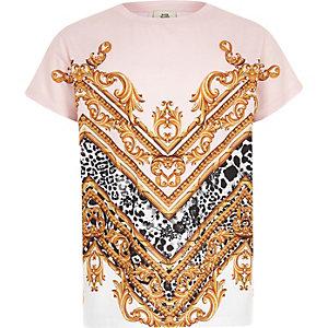 T-shirt imprimé baroque rose pour enfant