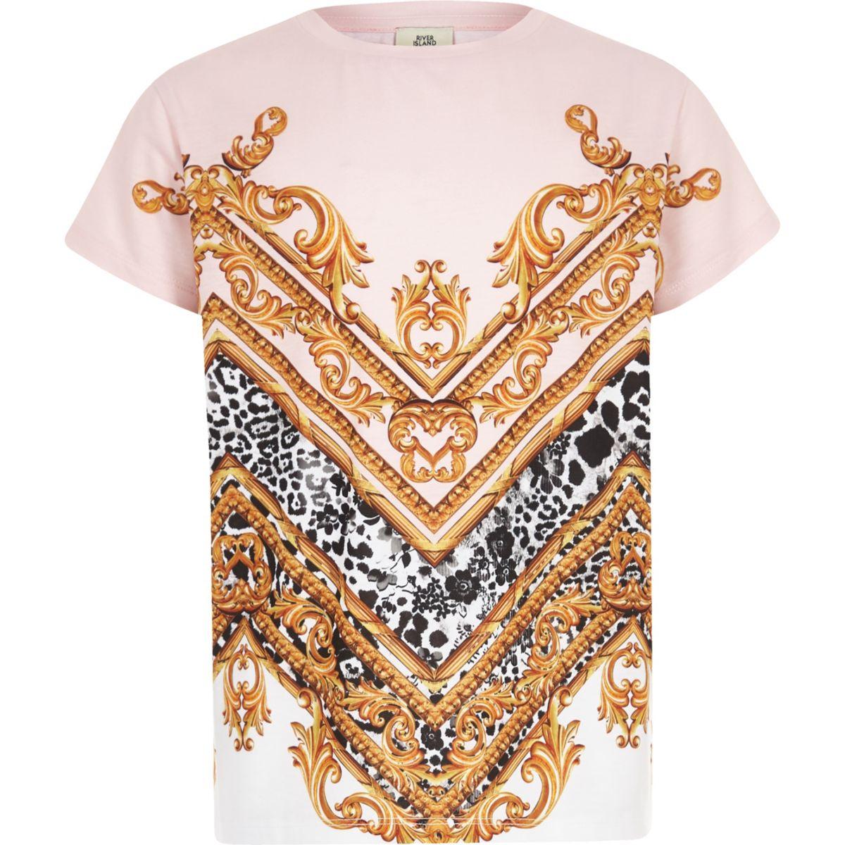 Kids pink baroque print T-shirt