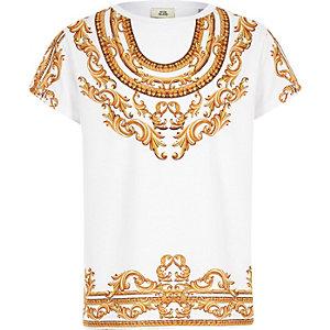 Weißes T-Shirt mit Barock-Print
