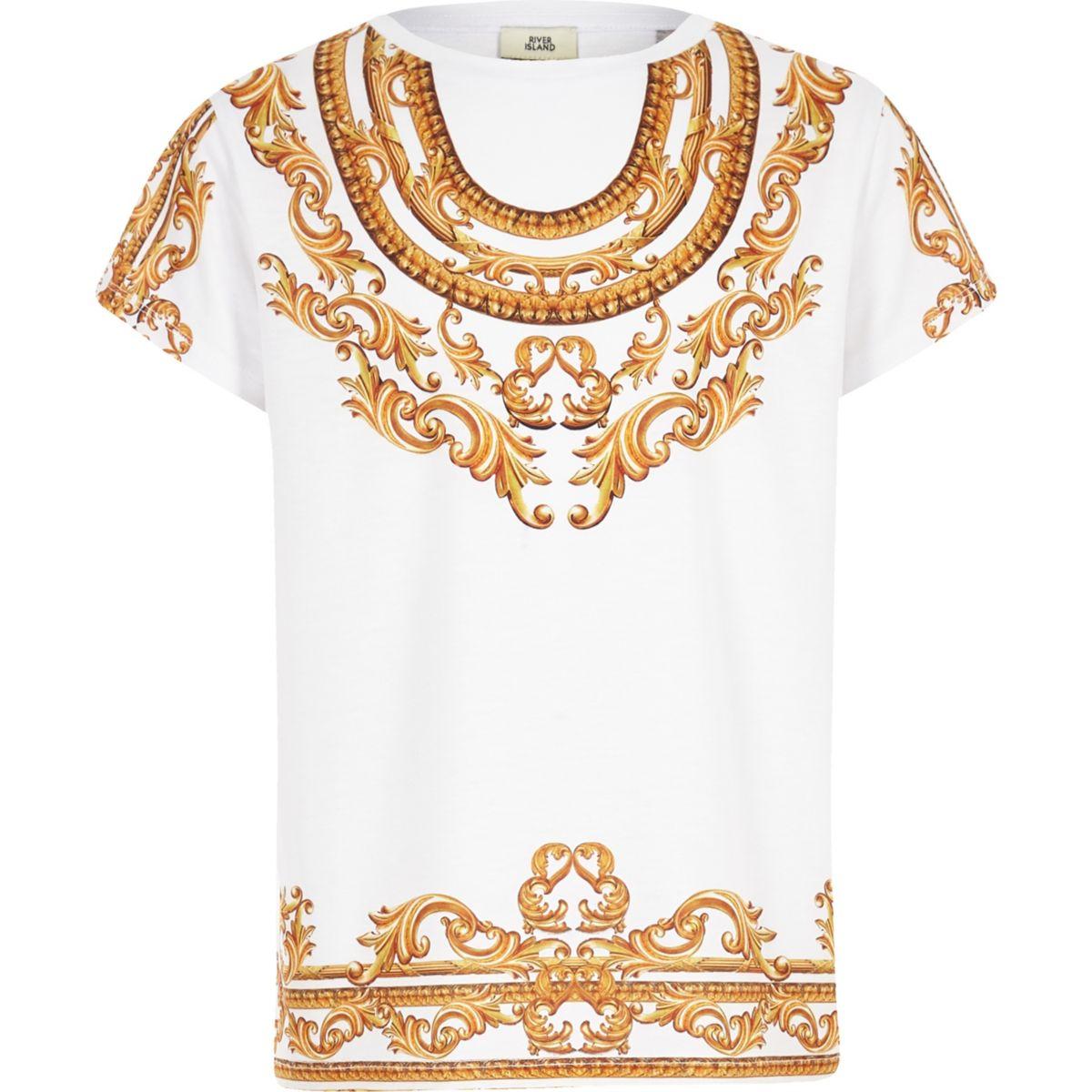 Girls white baroque print T-shirt