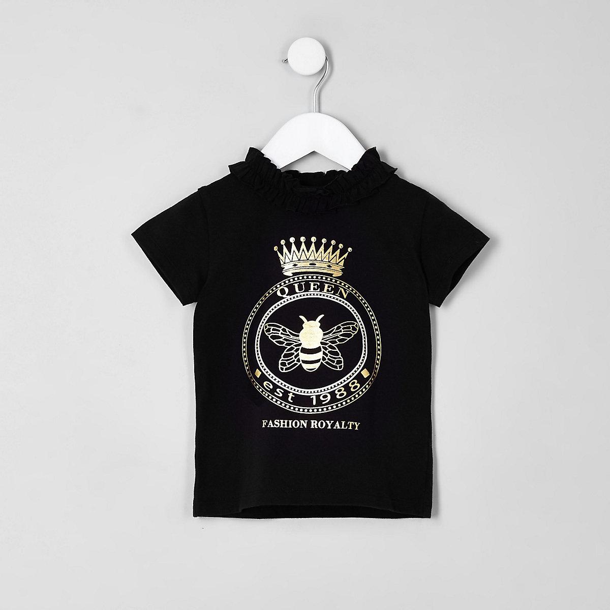 Mini girls black queen bee ruffle T-shirt