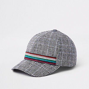 Girls grey check print baseball cap