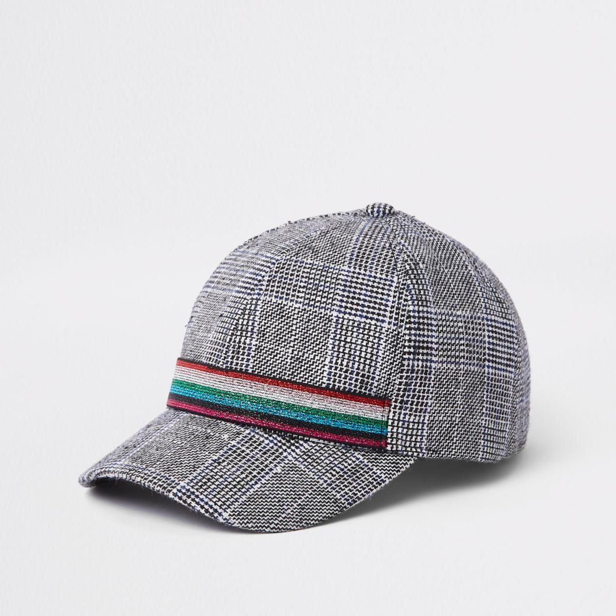 Girls grey check print baseball cap