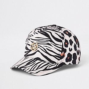Braune Baseball-Kappe mit Leoparden-Print