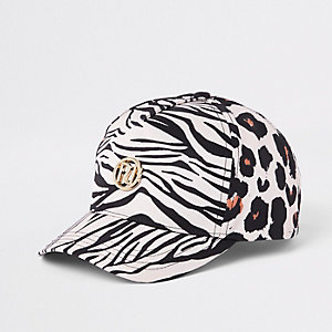 Bruine baseballpet met luipaardprint voor meisjes