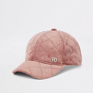Beige doorgestikte baseballpet met RI-logo voor meisjes