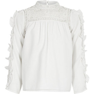 Girls white lace frill sleeve top