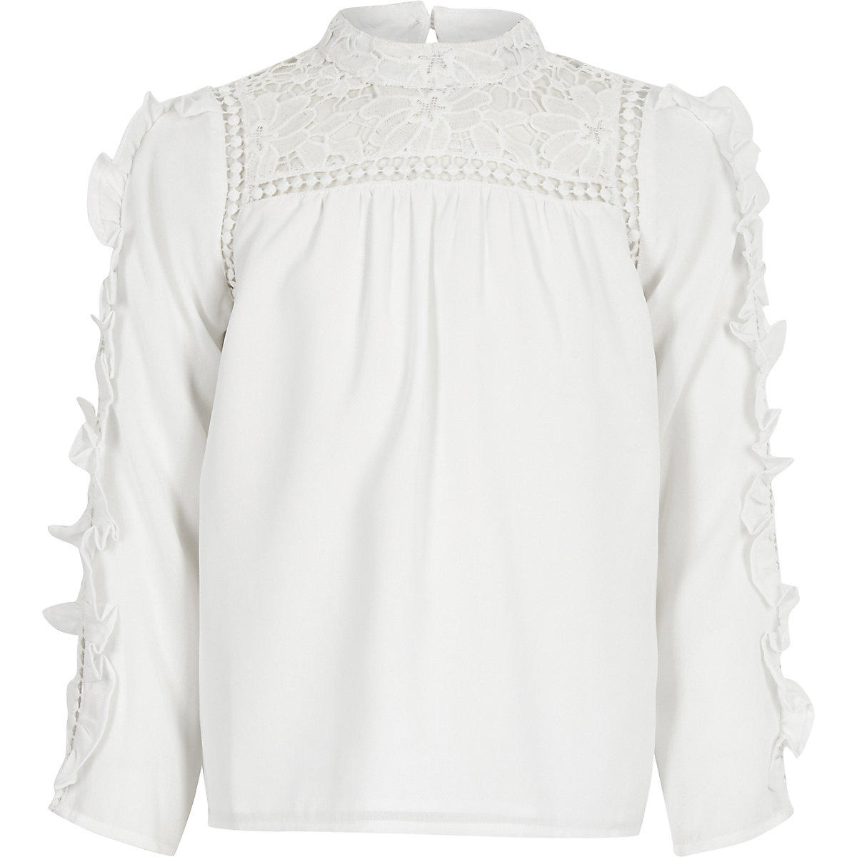 c7015016c7c521 Girls white lace frill sleeve top - Long Sleeve Tops - Tops - girls