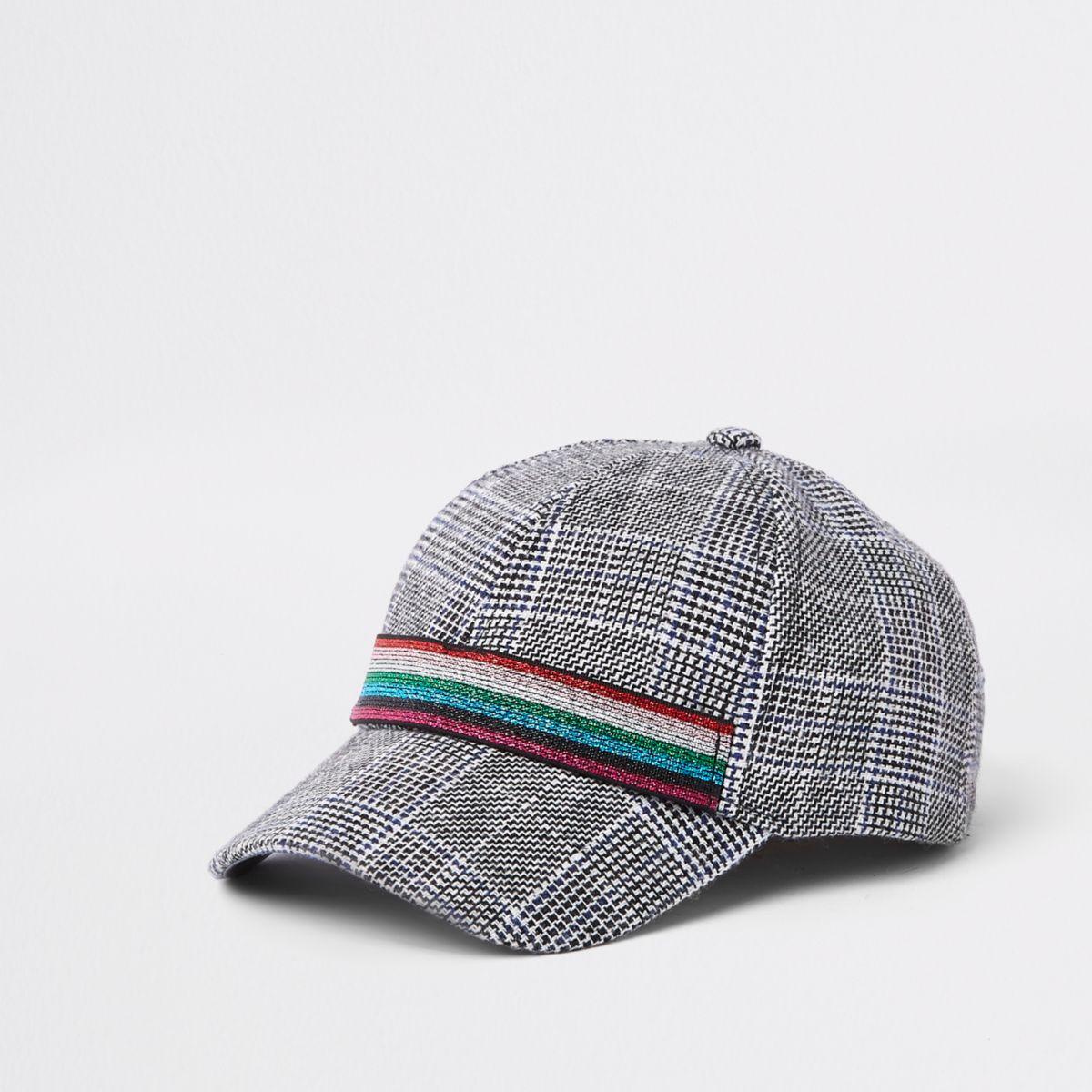 Mini girls grey check print baseball cap