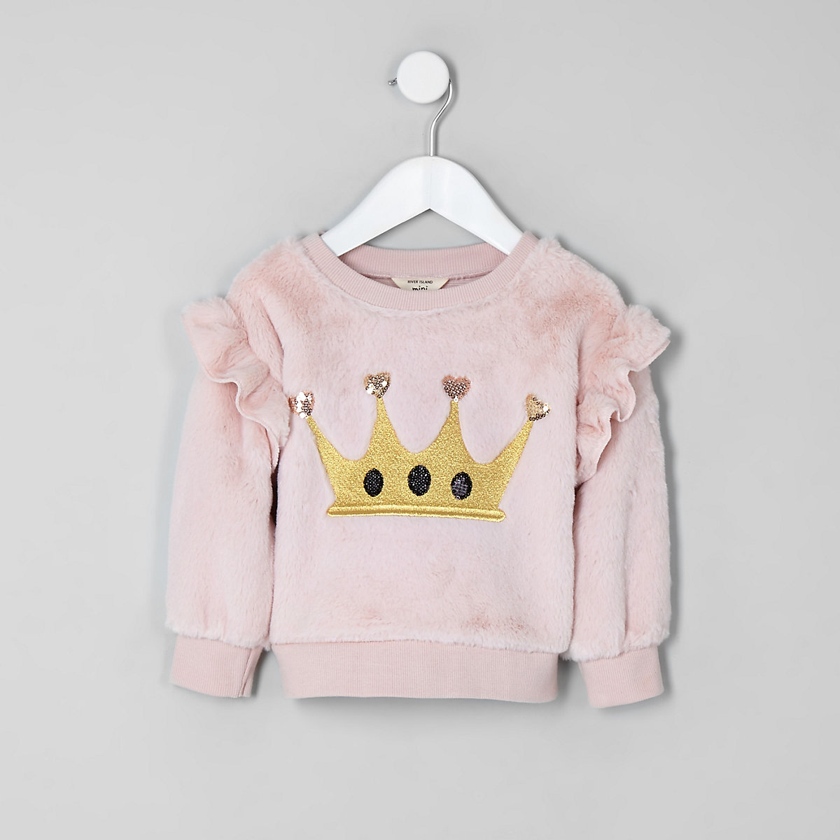 Mini girls pink faux fur crown sweatshirt