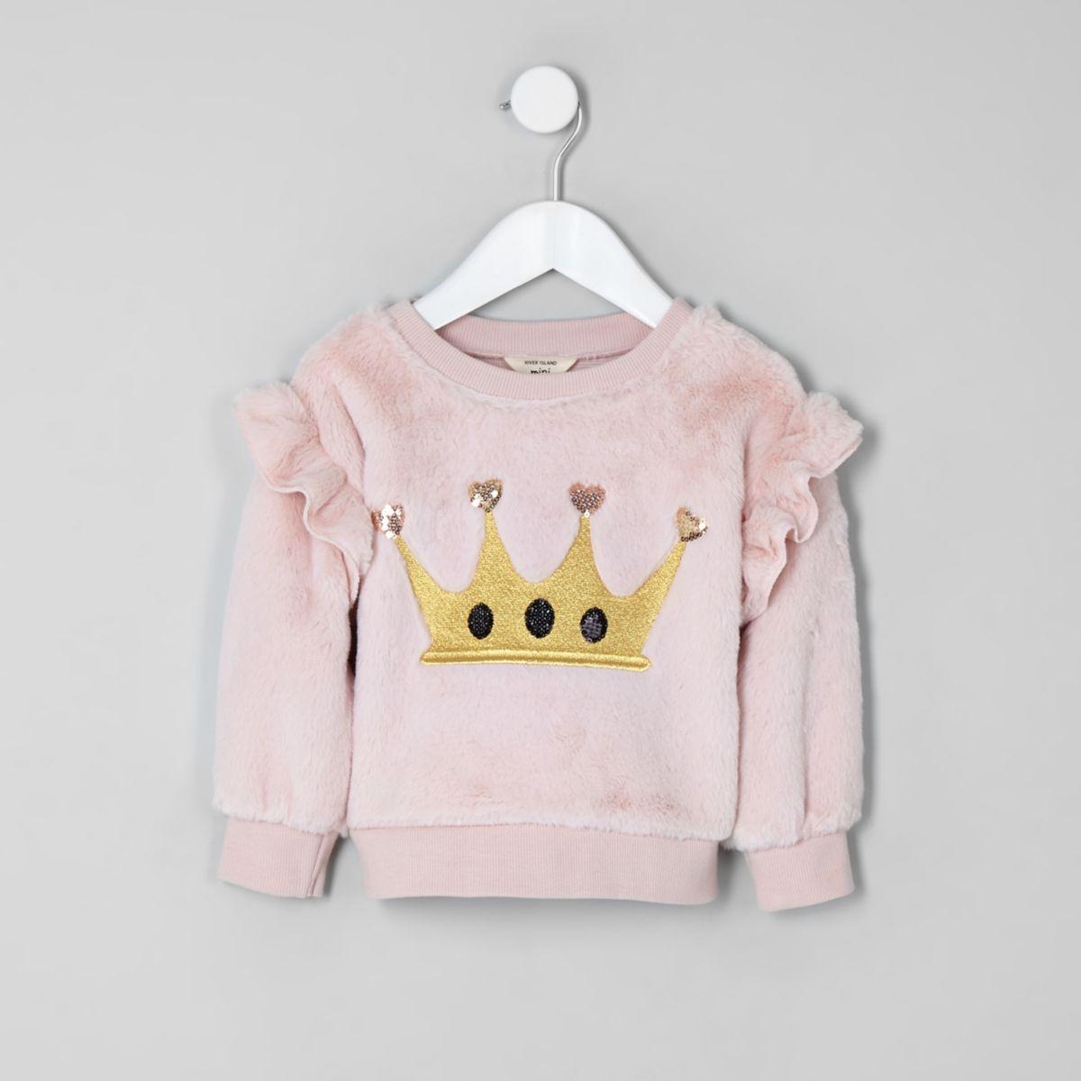 Mini girls pink faux fur crown sweatshirt