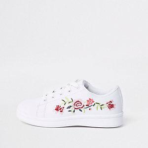 Tennis blanches à fleurs brodées pour fille
