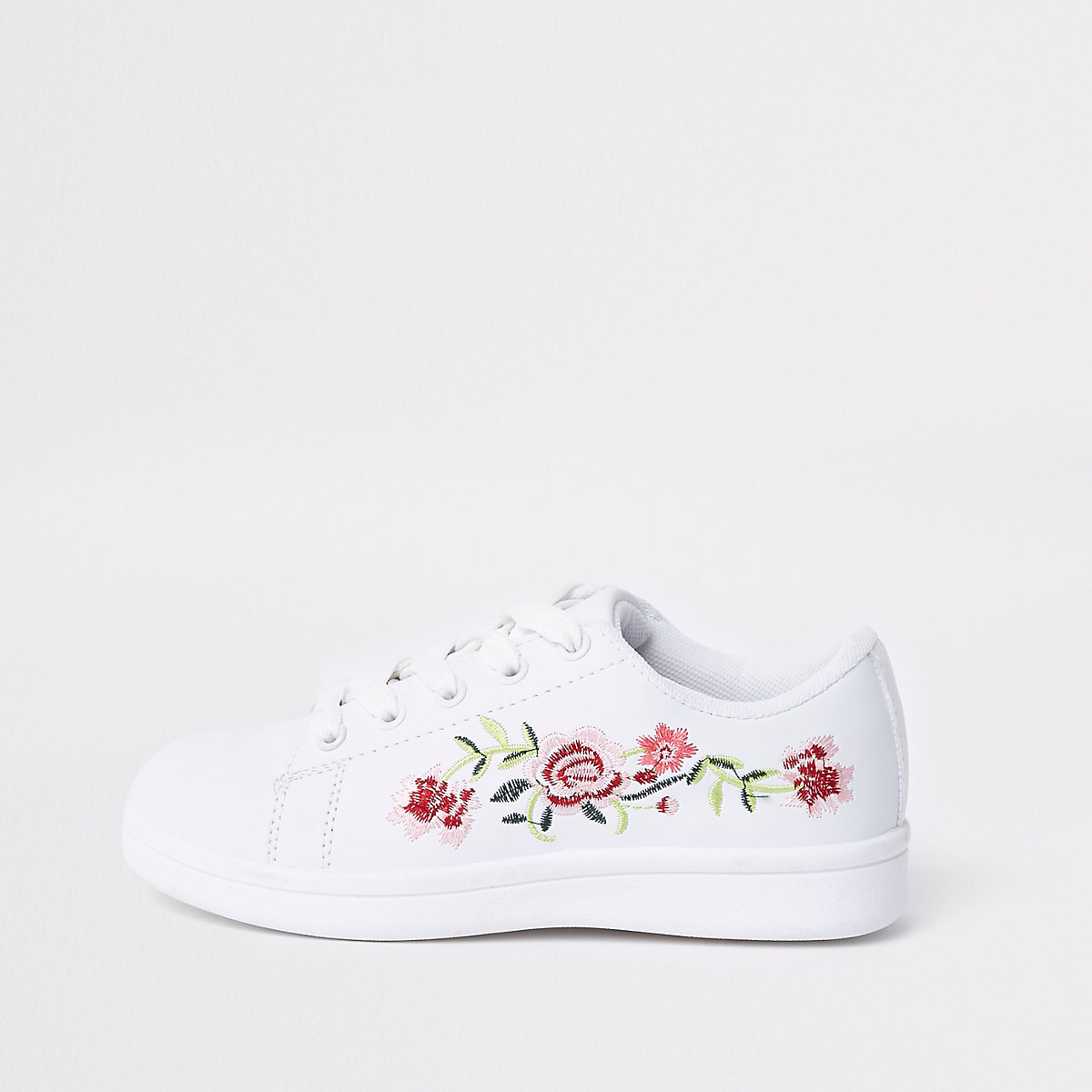 Girls white floral embroidered plimsolls