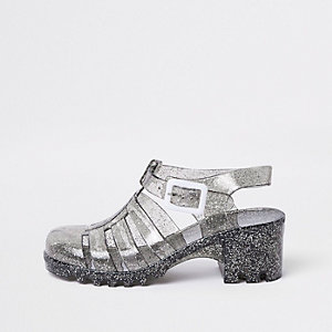 Girls black glitter clumpy sandals