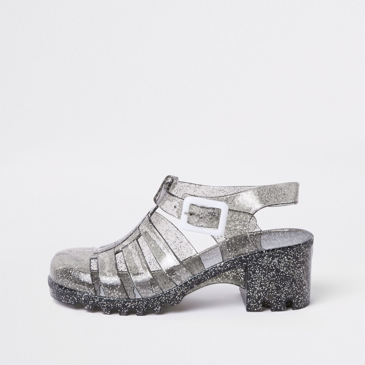 Girls black glitter clumpy sandals