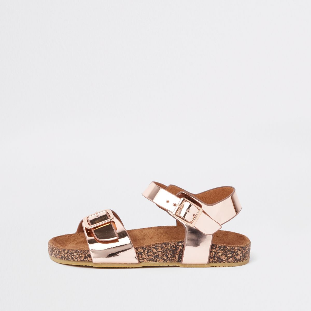 Girls rose gold cork sole sandals