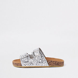 Girls silver glitter double strap sandals