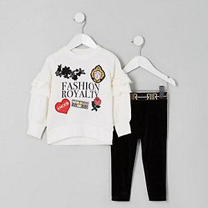 Ensemble avec pull à inscription « Fashion royalty » mini fille