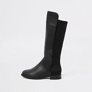 Zwarte kniehoge laarzen met studs voor meisjes