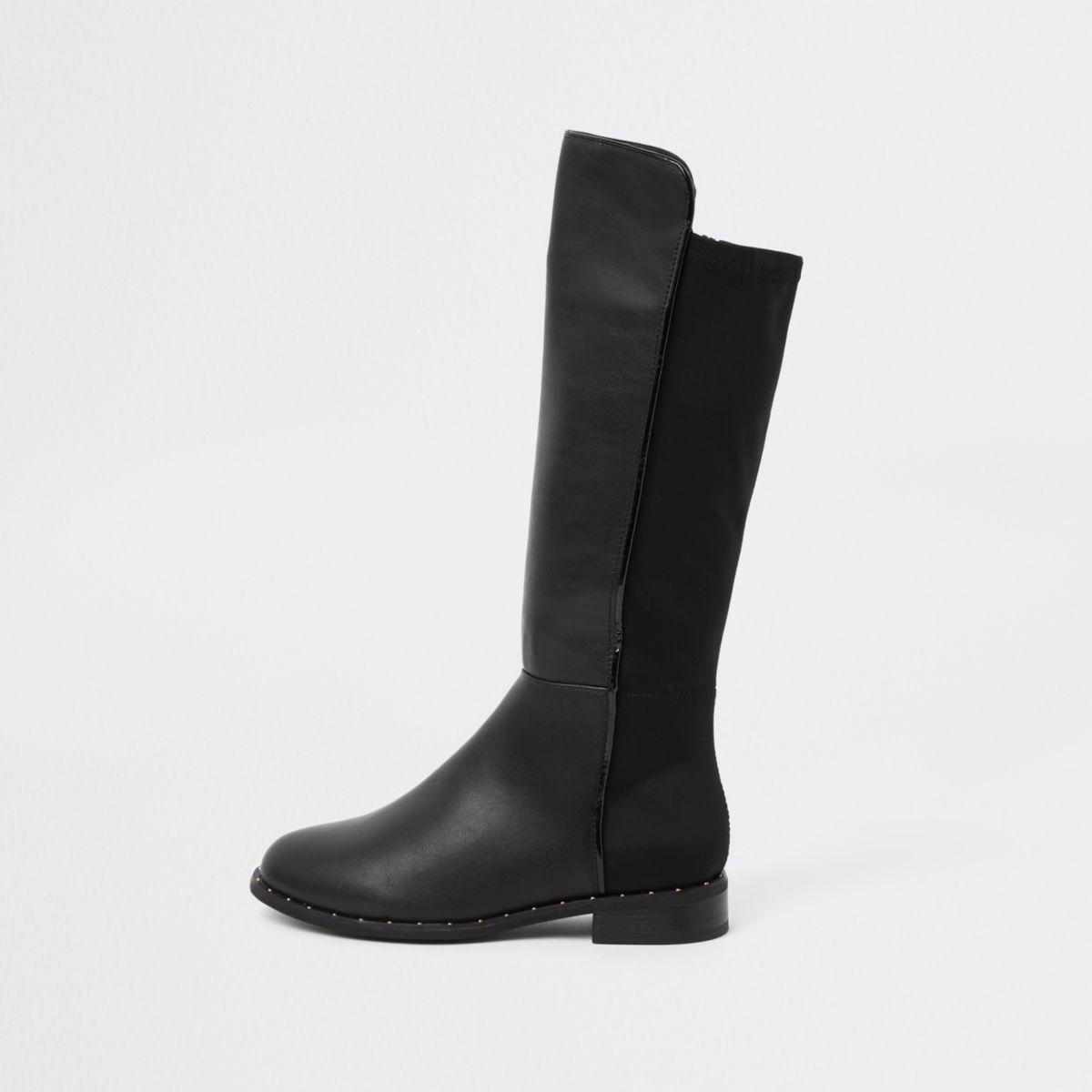 Girls black knee high studded boots