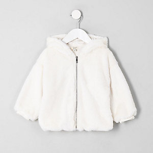 Mini girls cream faux fur zip-up hoodie