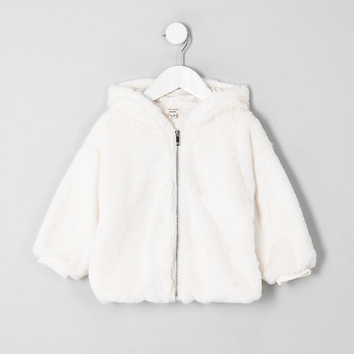Mini girls cream faux fur zip-up hoodie
