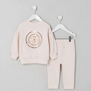 Mini girls pink butterfly sweatshirt outfit