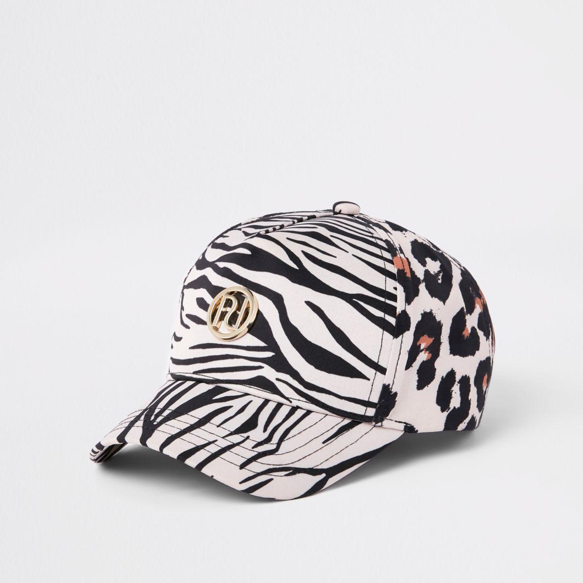 Mini girls brown leopard print baseball cap