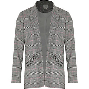 Girls check frill pocket blazer